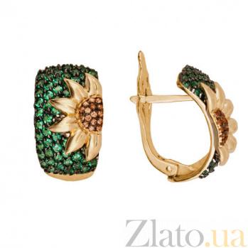 Серьги из желтого золота с зеленым и коньячным цирконием Подсолнух VLT--ТТ293-3