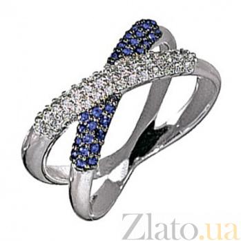 Золотое кольцо с сапфирами и бриллиантами Созвучие KBL--К1787/бел/сапф
