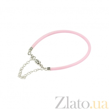 Розовый силиконовый браслет с серебром Ванильное небо 3Б203-0007