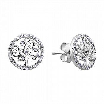 Серебряные серьги Древо жизни с фианитами 000132641