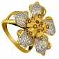 Кольцо из желтого золота с коньячным и белым цирконием Элина VLT--ТТ1105-1