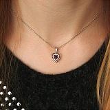 Золотой подвес Сердце с подвижным сапфиром и бриллиантами