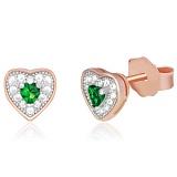 Серебряные сережки с зеленым цирконием и позолотой Кокетливые сердечки