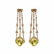 Золотые серьги с бриллиантами и цитринами Flash