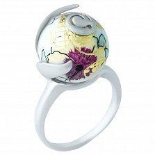 Серебряное кольцо Аромат весны с цветной эмалью