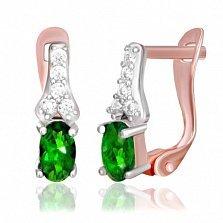 Серебряные серьги Аджикей с позолотой, зелеными и белыми фианитами