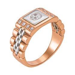 Золотое кольцо-печатка с фианитами 000061632