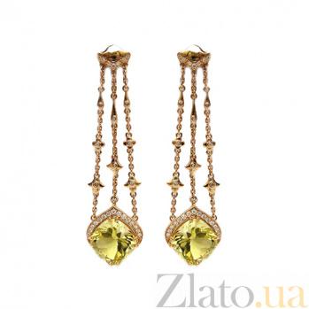 Золотые серьги с бриллиантами и цитринами Flash ZMX--EDCt-00233y