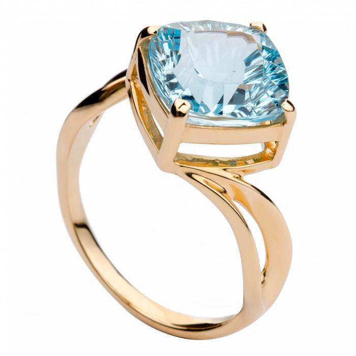 Золотое кольцо с голубым топазом Патрисия 000030142
