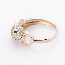 Золотое кольцо Пантера с фианитами в стиле Картье