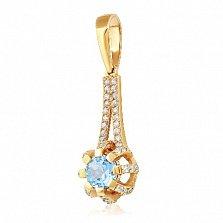 Золотой подвес Кристина с голубым топазом и фианитами