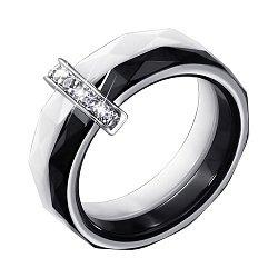 Кольцо из керамики и серебра с фианитами 000140152