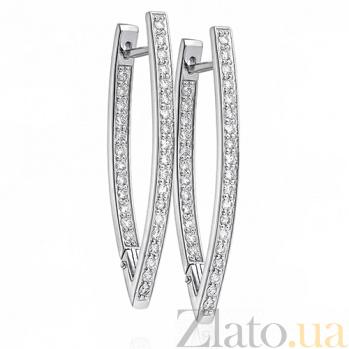Серьги из белого золота с бриллиантами Метрополис E 0323/бел