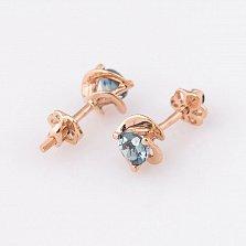 Золотые серьги-пуссеты Натали с голубым топазом