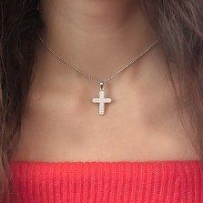 Серебряный крест Святыня с фианитами