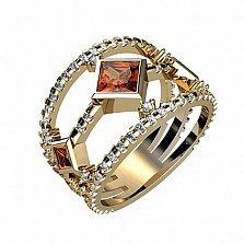 Кольцо в красном золоте Наоми с фианитами