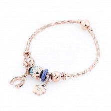 Золотой браслет Счастливая судьба с фианитами, синим полимером, голубой и розовой эмалью