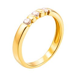 Золотое кольцо Делла в желтом цвете с фианитами