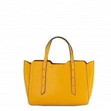 Кожаная деловая сумка Genuine Leather 8920 желтого цвета с фигурными краями и мелкими заклепками