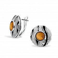 Серебряные серьги Лейла с янтарем, фианитами, черной эмалью и родием
