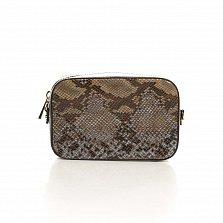 Кожаный клатч Genuine Leather 8074 под кожу рептилии в цвете тауп с застежкой-молнией