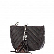 Кожаный клатч Genuine Leather 7754 цвета черный кофе с декоративными строчками и цепочкой-ремнем