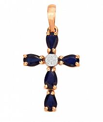 Декоративный крестик в комбинированном цвете золота с сапфирами и фианитами 000130912