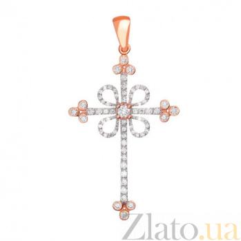 Золотой крестик с белыми фианитами Любовь VLT--ТТ3355-7