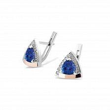 Серебряные серьги Гризельда с золотыми накладками, синими альпинитами и белыми фианитами