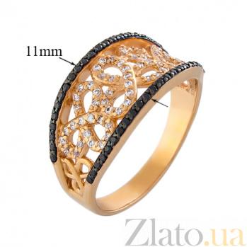 Золотое кольцо Эвелина в красном цвете с черными и белыми фианитами 12544/ч с