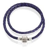 Двойной браслет под шармы Happy Way из фиолетовой кожи с серебряным замком