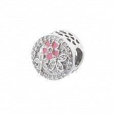 Серебряный шарм Весенний букет с фианитами, розовой и белой эмалью