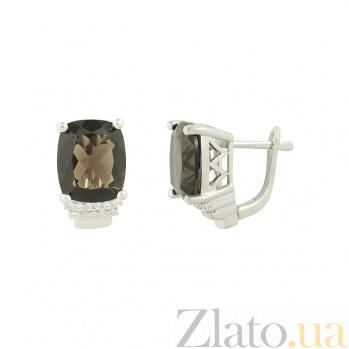 Серебряные серьги с раухтопазами и фианитами Антония 3С688-0084