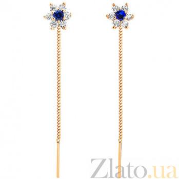 Золотые серьги Орхидея с синим цирконием SUF--101368с
