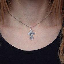 Серебряный крест Вера и Надежда с узорными деталями