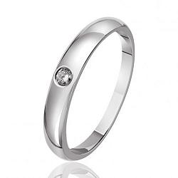 Обручальное кольцо из белого золота с бриллиантом 000001693