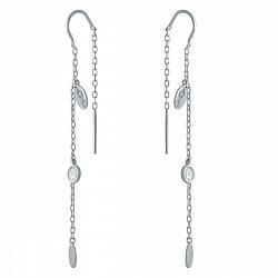 Серебряные серьги-протяжки Изящная веточка с цирконием