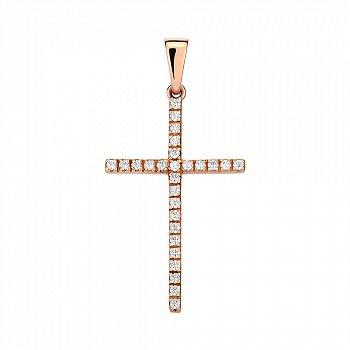 Крестик из красного золота с цирконием Swarovski двусторонний 000142387