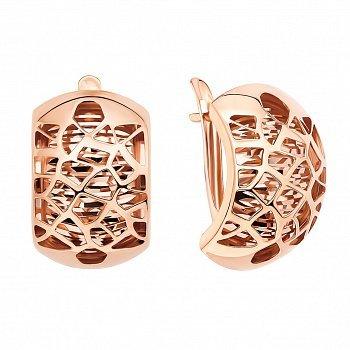 Золотые серьги в красном цвете с алмазной гранью и ажурным орнаментом 000124371