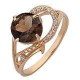 Золотое кольцо Джерди с раухтопазом и фианитами