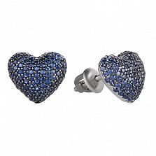 Серебряные серьги-пуссеты Блестящее сердечко с цирконием цвета сапфира