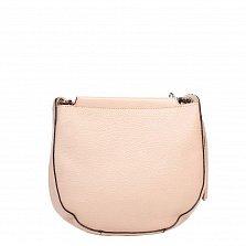 Кожаный клатч Genuine Leather 8887 бежево-розового цвета с замком-молнией и плечевым ремнем