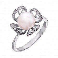 Золотое кольцо Агнесса в белом цвете с жемчугом и фианитами