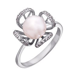 Золотое кольцо в белом цвете с жемчугом и фианитами 000071587