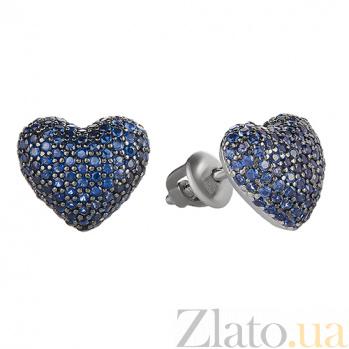 Серебряные серьги Блестящее сердечко с цирконием цвета сапфира 2434/9р син
