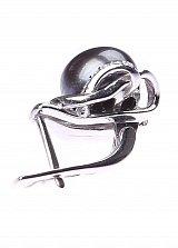 Серебряные серьги Нэриман с черными жемчугом и фианитами