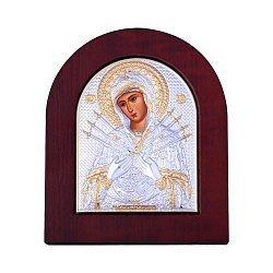 Икона Божия Матерь Семистрельная с серебрением и позолотой 000131705
