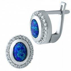 Серебряные родированные серьги с синими опалами и дорожками белых фианитов 000075647