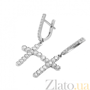Серебряные серьги-подвески Крестоносцы с дорожками белых фианитов и родием 000096020