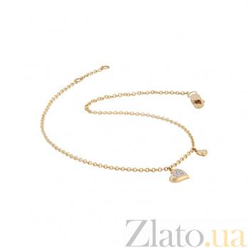 Золотой браслет с бриллиантами Влюбленное сердце 000032280